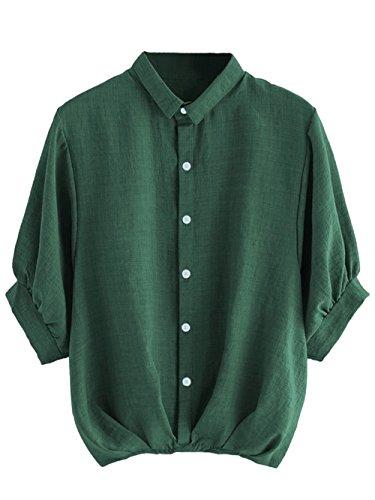 Milumia Women's Collar Lantern Short Sleeve Pleated Hem Button Down Work Blouse Shirt Top Dark Green Large