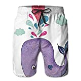 Photo de WANGKG Men's Big and Tall Swim Trunks Beachwear Drawstring Summer Holiday,Cute Smiley Whale Motif with Lovely Hearts and Clouds on Sea Great Print,3D Print Shorts Pants,XL