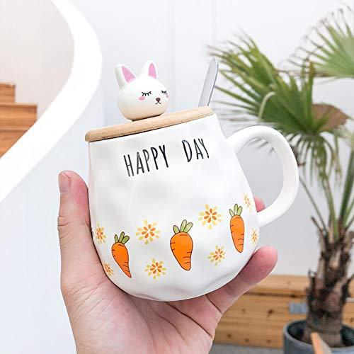 FGVBWE4R Conejo de Zanahoria de Dibujos Animados con Tapa y Cuchara Taza de cerámica Taza Creativa de café Unisex, B, 400ML