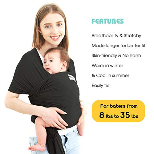 Acrabros Baby Wrap Carrier,Hands Free Baby Carrier Sling,Lightweight,Breathable,Softness,Perfect for Newborn Infants and Babies Shower Gift,Black