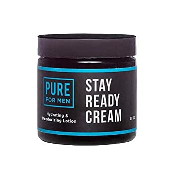 Pure for Men Stay Ready Cream 3.8 oz | Eco Friendly Raw Lotion for Men | All Purpose Skin Hydration & Deodorizing Balm | Raw Shea Butter Mint & Clove
