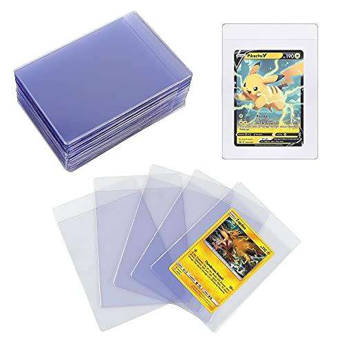 Homgaty 60 Stück Toploader Karten Hüllen, Halbstarre Card Sleeves Sammelkarten Schutzhüllen für Trading Cards, Pokemon, MTG, TCG, Skylanders, Transparent ( 8,4 x 12,4 cm )