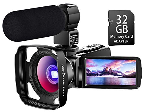 【Full Upgrade】 Ultra HD Video Camera Camcorder with Powerful Microphone 1080P Vlogging Camera...