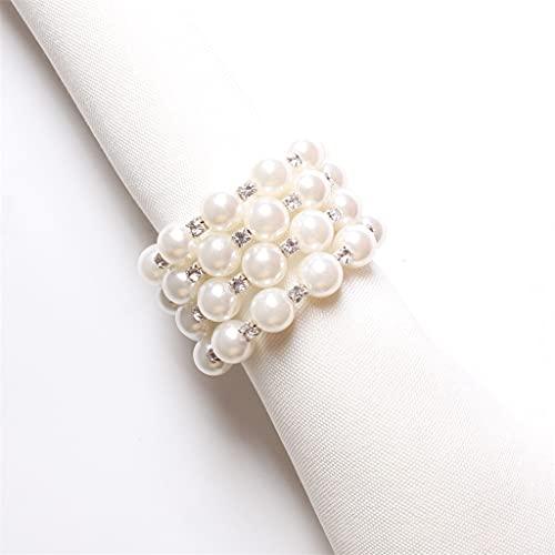 YUTRD 10 Piezas Creativas servilletas de Perlas Accesorios de Hebilla Europea de Gama Alta Ajuste de la Mesa decoración Anillo de Tela