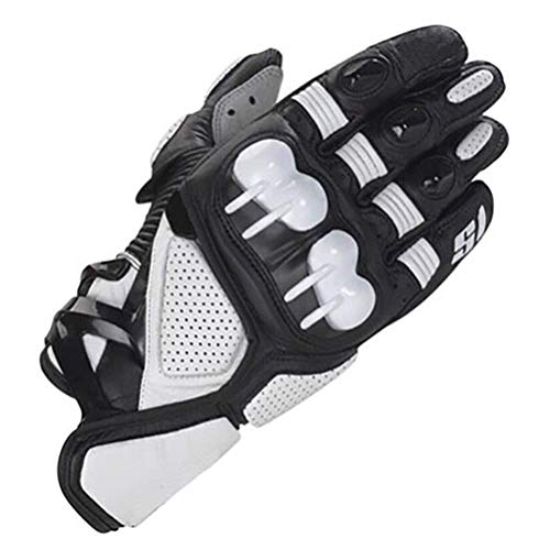 Sooiy Leder-Vollfinger-Fahrradhandschuhe, Fahrrad Fahren Motorrad-Moto Racing-Handschuhe Motorcycle Gloves,White