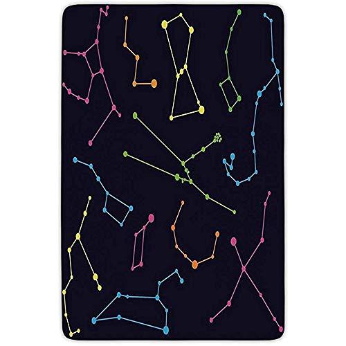 AmyNovelty Alfombrilla De Piso,Constelación Colorida Ilustración Astronómica Ciencia Osa Mayor Menor Polaris Celestial Suave Cómodo Bienvenido Felpudos 50x80cm