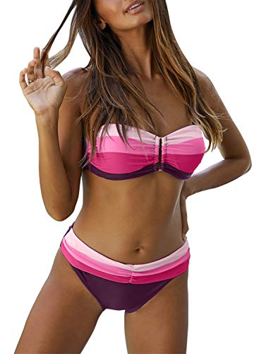 Sidefeel Women Striped Push Up Bandeau Bikini Set Two Piece Swimsuit X-Large Rose