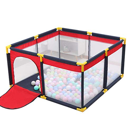NMDCDH Square Baby Playpen Portable Children's Play Fence Fabric Toddler Indoor Baby Playards Kids Activity Center Anti-Fall Play Pen (130x130x65cm)