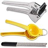 Garlic Press - Lemon Squeezer and Lemon Zester/Grater Tool with Cover, Kitchen Utensil Set.