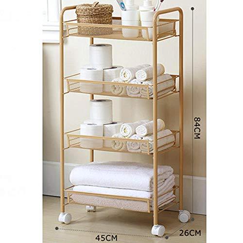 XHSSF Küchenwagen,küchenwagen auf Rollen,küchenwagen Edelstahl,Multifunktionales Lagerfahrzeug,Für Küche Bad Wohnzimmer-Golden_4 Etagen