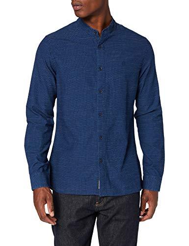 Calvin Klein Band Collar Dobby Shirt Camicia, Blu (Mid Indigo Washed 0g9), Large Uomo