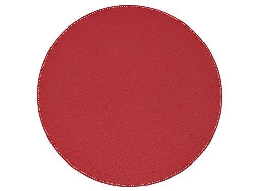 NIKALAZ Set de Table; Rond (1 pièce), 33 cm, en Cuir Naturel Recyclé, Décor de Table (Rouge)