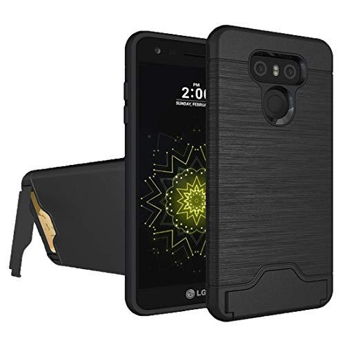 ZAORUN Funda protectora para teléfono móvil compatible con LG G6 con textura cepillada separable PC + TPU combinación trasera funda con soporte y ranura para tarjeta (negro) (color negro)