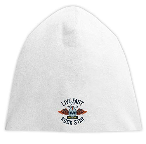 Live Fast Die Young Rock Star Skull Beanise Hood Unisex Breathable Cap Hat Bequemes Trikot One Size