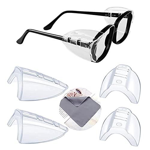 YUERR 2ペア 花粉症めがね 防塵 花粉カット メガネ 子供 花粉対策 メタルフレーム保護メガネ用サイドシールド かふんしょうのメガネ 曇らない 小から中のメガネフレームに適合1 PC眼鏡布付き(メガネは含まれていません)(4 個入り-M-透明)