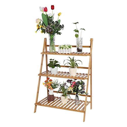 WEIZI Flower stand 3 layers wooden folding flower shelf ladder flower shelf flower bench pot pot shelf shelf for greenhouse garden and balcony 70x40x96cm (wood color)