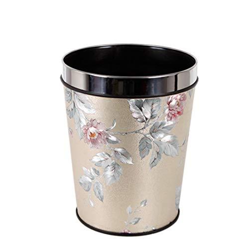 Poubelle- Corbeille à papier, 8L sans couvercle à fleurs en argent, modèle à usage ménager Home Office ronde, corbeille à papier en PP (taille : 8L)