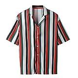 Hombre Camisa Manga Larga Slim Fit Blusa Superior Rayas Camisetas Deporte Solapa Casual T-Shirt Blusas Camiseta de Cuello Redondo Suave básica Camiseta riou