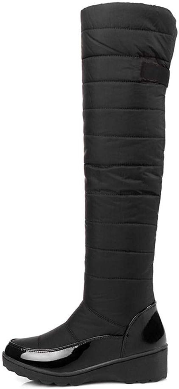 Hoxekle kvinnor mode Knee höga höga höga stövlar Faux Fur Slip On Platge Wedge Warm Snow stövlar Ladies Winter Anti -Slip skor  lycklig shopping