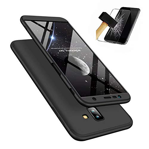MISSDU replacement for Case Samsung Galaxy J6+/J6 Plus (2018) Case Ultra-Thin Case with [Tempered Glass Screen Protector] Simple Stylish Fully Protective Cover - black