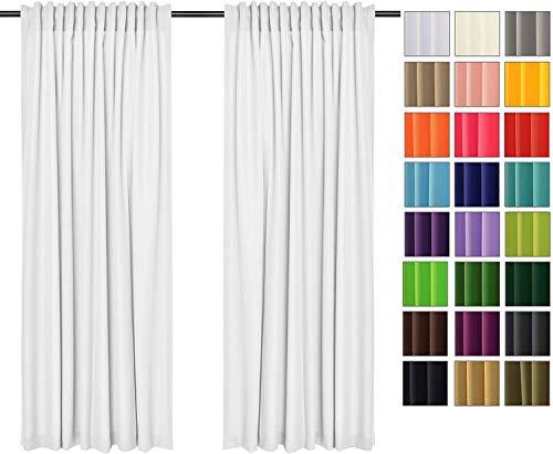 Rollmayer Vorhänge mit Tunnelband Kollektion Vivid (Weiß 1, 135x150 cm - BxH) Blickdicht Uni einfarbig Gardinen Schal für Schlafzimmer Kinderzimmer Wohnzimmer