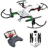 ATOYX Drone avec Caméra AT146 Drone Pliable Hélicoptère Télécommande WiFi avec Mode sans Tête, Induction de Gravité, Maintien d'altitude, Jouet et Cadeau pour Enfant/Débutant/Adulte - Blanc
