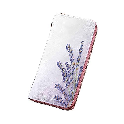 ラベンダー 財布 メンズ 長財布 レザー 薬草の小さな花束紫の花の新鮮な植物スパアロマテラフィ有機 大容量 小銭入 スキミング防止 ラベンダー