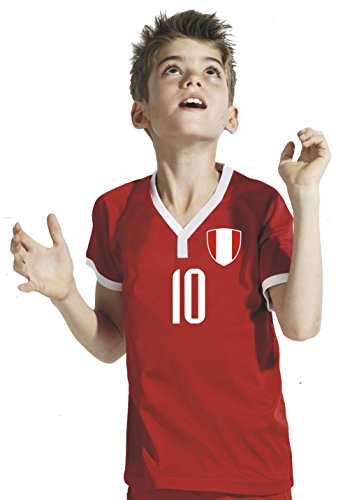 Aprom-Sports Peru – Camiseta de fútbol para niños – Medias de pantalón con nombre personalizado + número RRR Mundial 2018 (128)