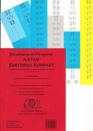 DürckheimRegister SARTORIUS KOMPAKT (2020) Gesetze und §§: 75 Registeretiketten (sog. Griffregister) für den SARTORIUS, C.H. Beck Verlag • GG, VwVfG, ... • In jedem Fall auf der richtigen Seite
