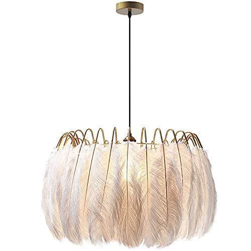 ZRWZZ Iluminación Nórdica Lámpara de Plumas Blanca, Hermosa luz Colgante Ajustable para la habitación de Las niñas del Dormitorio, luz Minimalista de la luz Colgante, la Fuente de luz E27