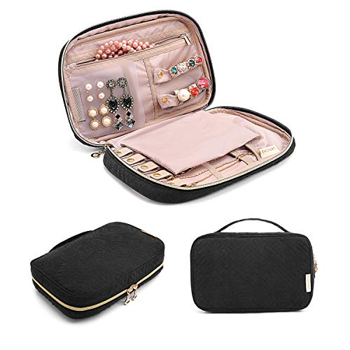 BAGSMART Jewelry Organizer Bag Travel Jewelry Storage Cases for Necklace Earrings Rings Bracelet Black