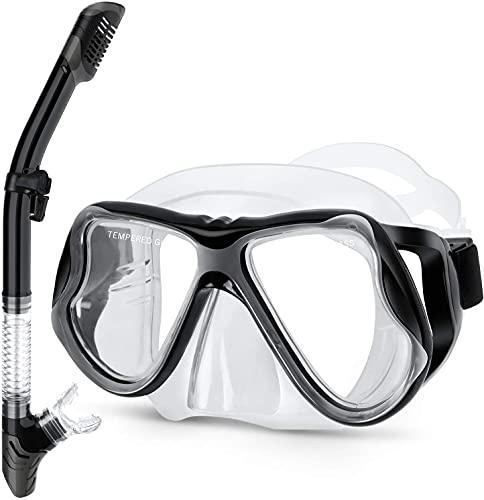 Greatever Gafas y Tubo de Snorkel Set Kit de Snorkeling Anti-Vaho Anti-Fuga Máscara de Buceo para Adultos (White Black)