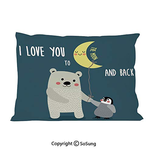 "I Love You Bed Pillow Case/Shams Set of 2,Teddy Bear and Penguin Best Friends Arctic Lovers under Moon Cartoon Decorative King Size Without Insert (2 Pack Pillowcase 36""x20""),Slate Blue Grey Yellow"