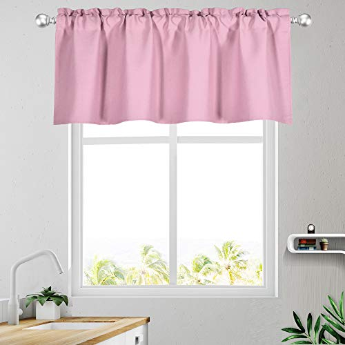 KEQIAOSUOCAI Pink Valances for Windows Rod Pocket Blackout Kitchen Valance 18 Inch Length Curtains for Bedroom Living Room Basement Single Panel 52Wx18L Pink