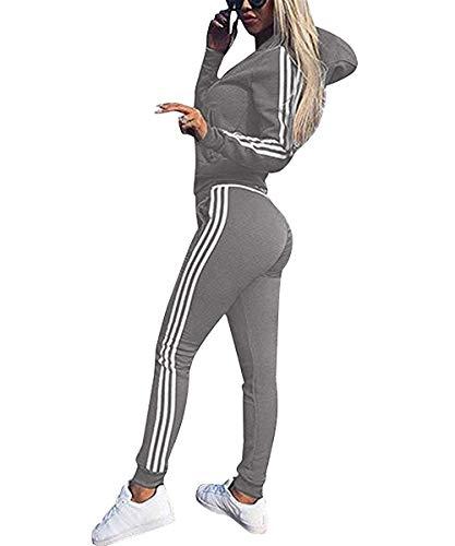 Sudaderas Mujer Pantalones + Tops Conjunto de Chándal de Mujer Camisas Fitness Manga Larga Casual Jersey Chaqueta Hoodie&Pantalones