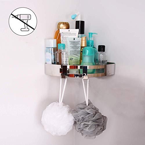 VEHHE Doucheplank Badkamer Hoek RVS Geen Boren Upgrade Doucheorganisator voor Heavy Duty Shampoo Conditioner Bonus Nagels 2 Haken voor Badbal Handdoek Sponge