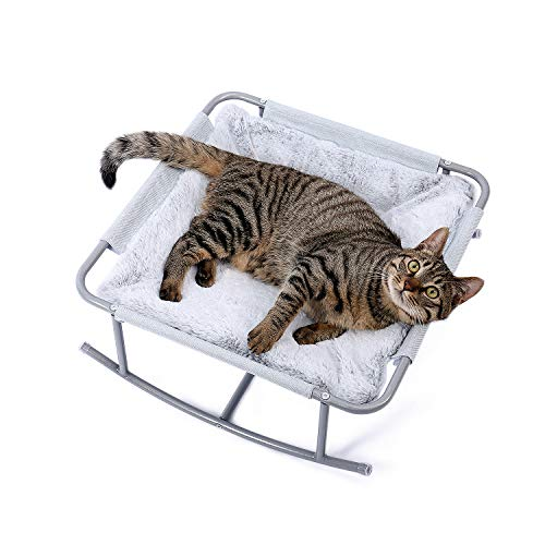 Made4Pets Cat Bed Pet Detachable Rocking Chair Rolling Cradle for Cats and Small Dogs Featuring with Luxurious Plush-Grey
