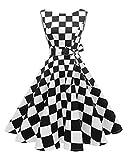Hanpceirs Women's Boatneck Sleeveless Swing Vintage 1950s Cocktail Dress Blackwhiteplaid 3X