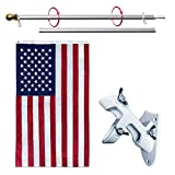 3x5 Feet American Flag with Pole Kit, Including Embroidered Stars US Flag, 6 ft Aluminum No Tangle Spinning Pole and 2-Position Flag Pole Bracket