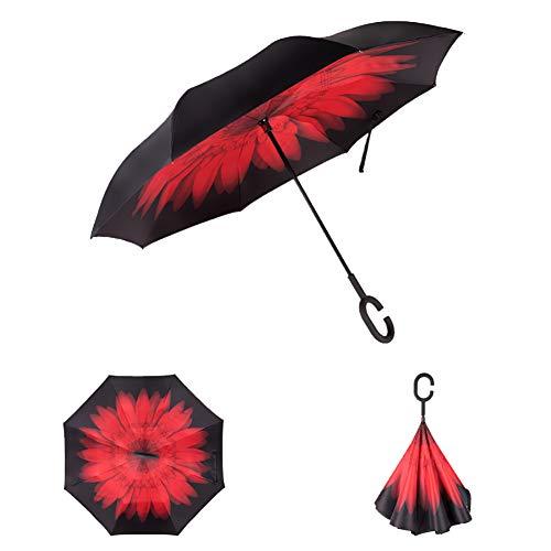 ZXDBK C-vormig handvat paraplu, opvouwbare paraplu winddichte uv-beschermende omgekeerde en zichzelf staande binnen buiten regenbescherming paraplu Beste voor reizen en autogebruik (vlam rode lippen), E