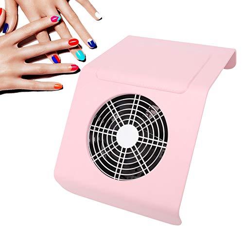 Colector de succión de polvo para arte de uñas de 40 W, Aspirador para arte de uñas Herramienta de manicura del ventilador Equipo de limpieza de polvo, Extractor de eliminación de polvo(rosado)