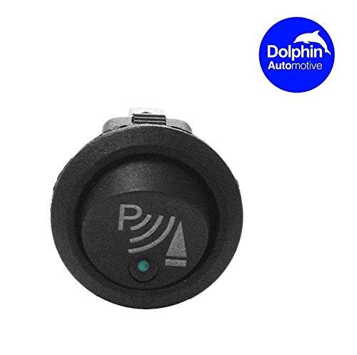 Dolphin beleuchtet LED rund 3-polig P Rocker an/aus 12V DC Armaturenbrett Schalter rückwärts Parksensor Vordere Hintere Rückfahrsensoren UK