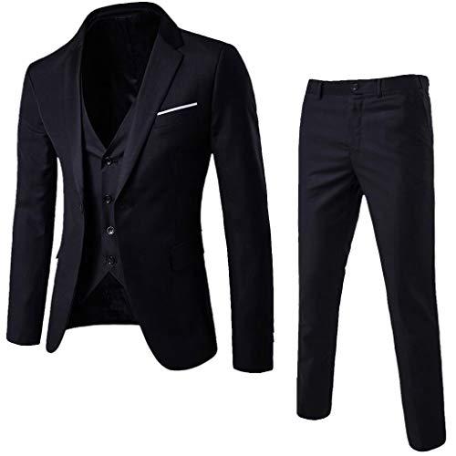 3-Piece Mens Charm Suit Blazer Jacket & Vest & Pants Formal Classic Business Jacket Suits Casual Vintage Retro Smart Wedding Party Dinner Suits Jacket Waistcoat Size M-XXXL