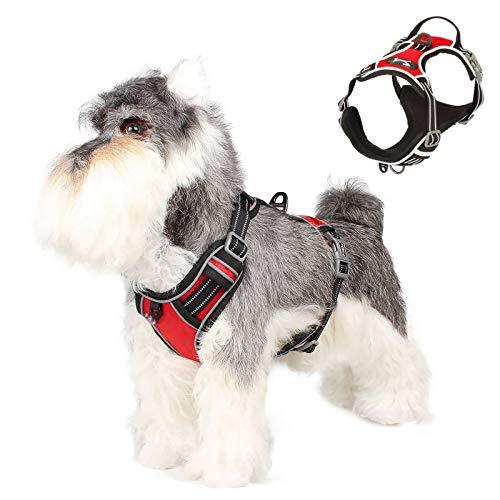 SISVIV Arnés para Perros Pequeños Reflectante Arneses Chaleco para Perros Cachorro Acolchado Ajustable Antitirones Oxford Duradero Transpirable Rojo S