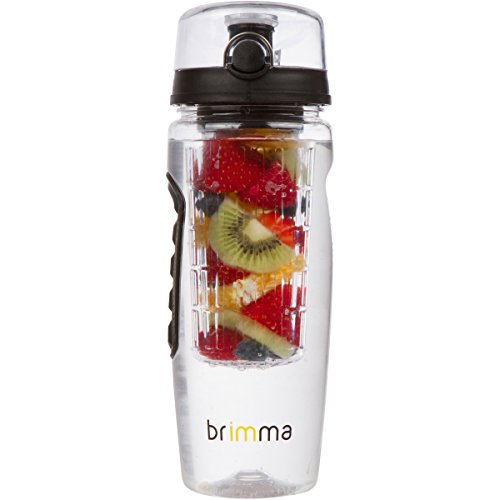 Brimma Fruit Infuser Water Bottle - 32 oz Large, Leakproof Plastic Fruit Infusion Water Bottle for Gym, Camping, and Travel