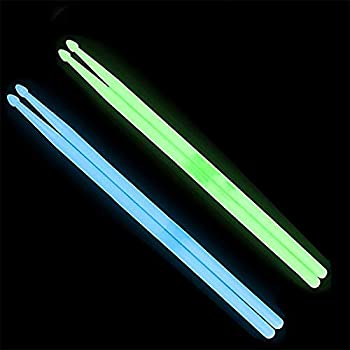 YiPaiSi 5A Luminous Light Up Drum Sticks, Luminous Light Up Drumsticks, Bright Luminous Glow in The Dark Drumsticks, Bright Light Up Drum Sticks (Green)
