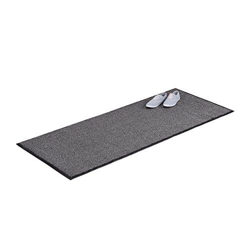 Relaxdays 10021902 Paillasson gris chiné tapis d'entrée couloir intérieur extra plat mince 80 x 200 cm, noir-gris