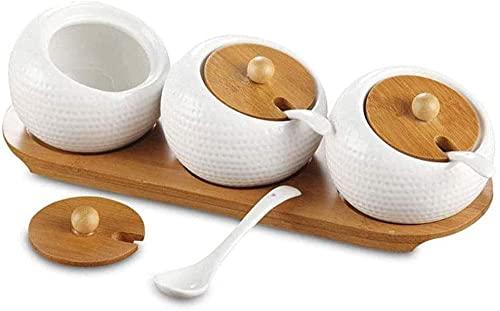 kryddburkar keramisk burk kryddbehållare smaktillsats med sked och träbricka lock – modern design köksartiklar för keramik cruet kruka för socker servering te kaffe krydd-set med 3