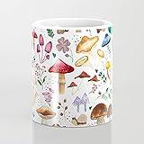 Taza de café con ilustración de setas y plantas con diseño de bosque de acuarela de 325 ml