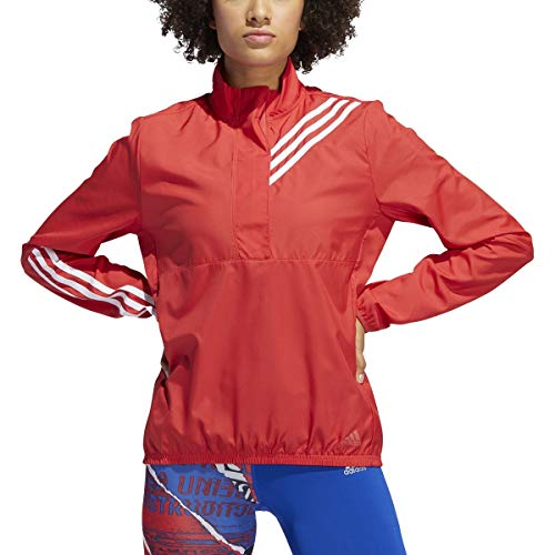 adidas Women's Run It 3-Stripes Anorak Glory Red Medium